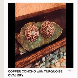 COPPER CONCHO EARRINGS with TURQUOISE CENTER